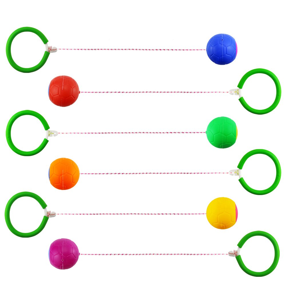 Neworkg GSports Skip Ball Set: Six Jumping Toy Assorted Colors Swing Balls - Great Kids Fitness Game for Boys and Girls