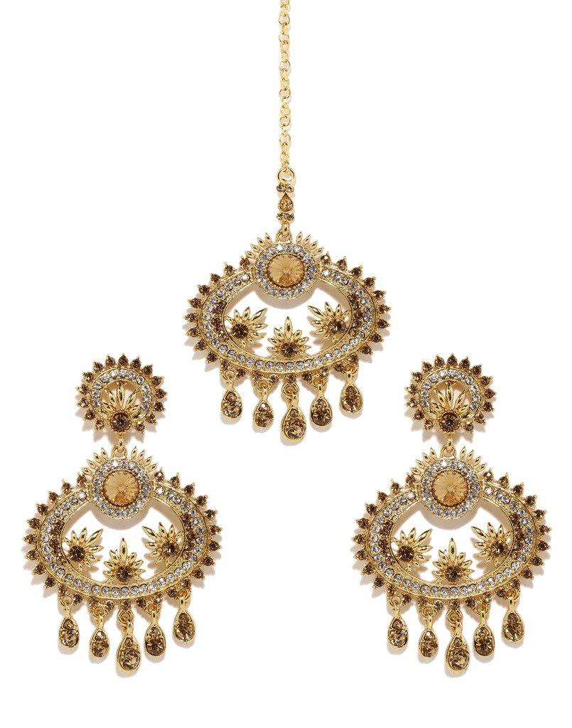 Bindhani Wedding Indian Bollywood Pakistani Style Head Jewelry Maang Tikka Mang Tika Earrings For Women