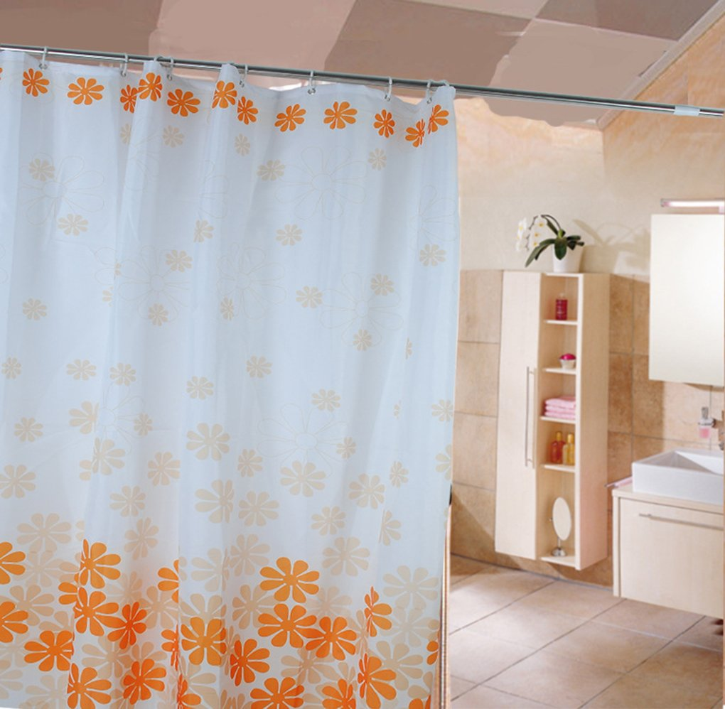 HJL Peach Blossom Without Fading Polyester Shower Curtain 180*200cm ...