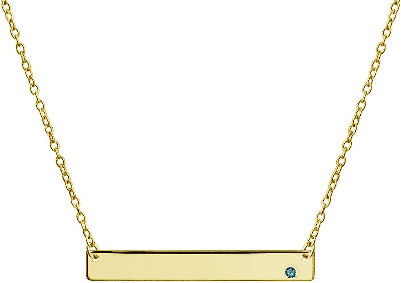 Barra Lateral Personalizado Monograma Colgante Collar Morado Mujer Mes De Nacimiento Cristal Chapados En Oro De 14K