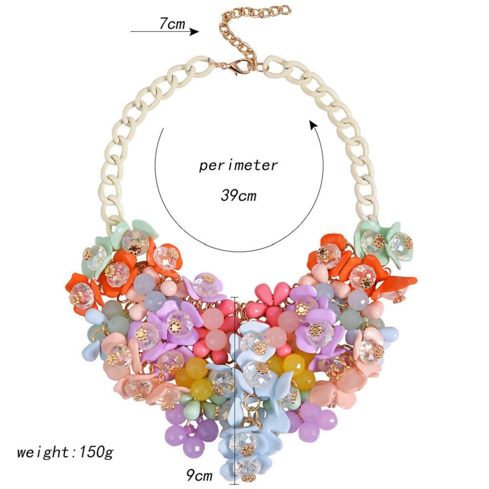 HoBST Vintage Collar Chain Sparkly Crystal Flower Choker Necklace Statement necklace For Party