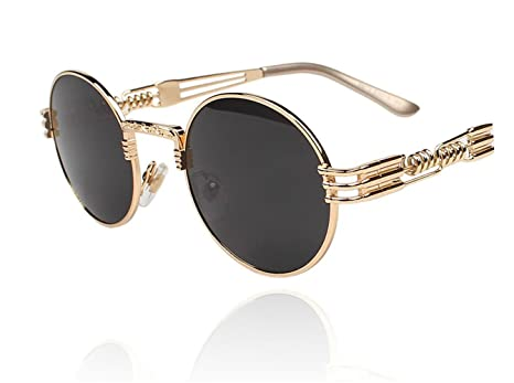 080203f4924 Image Unavailable. Image not available for. Color  TELAM Round Retro  Steampunk Sunglasses