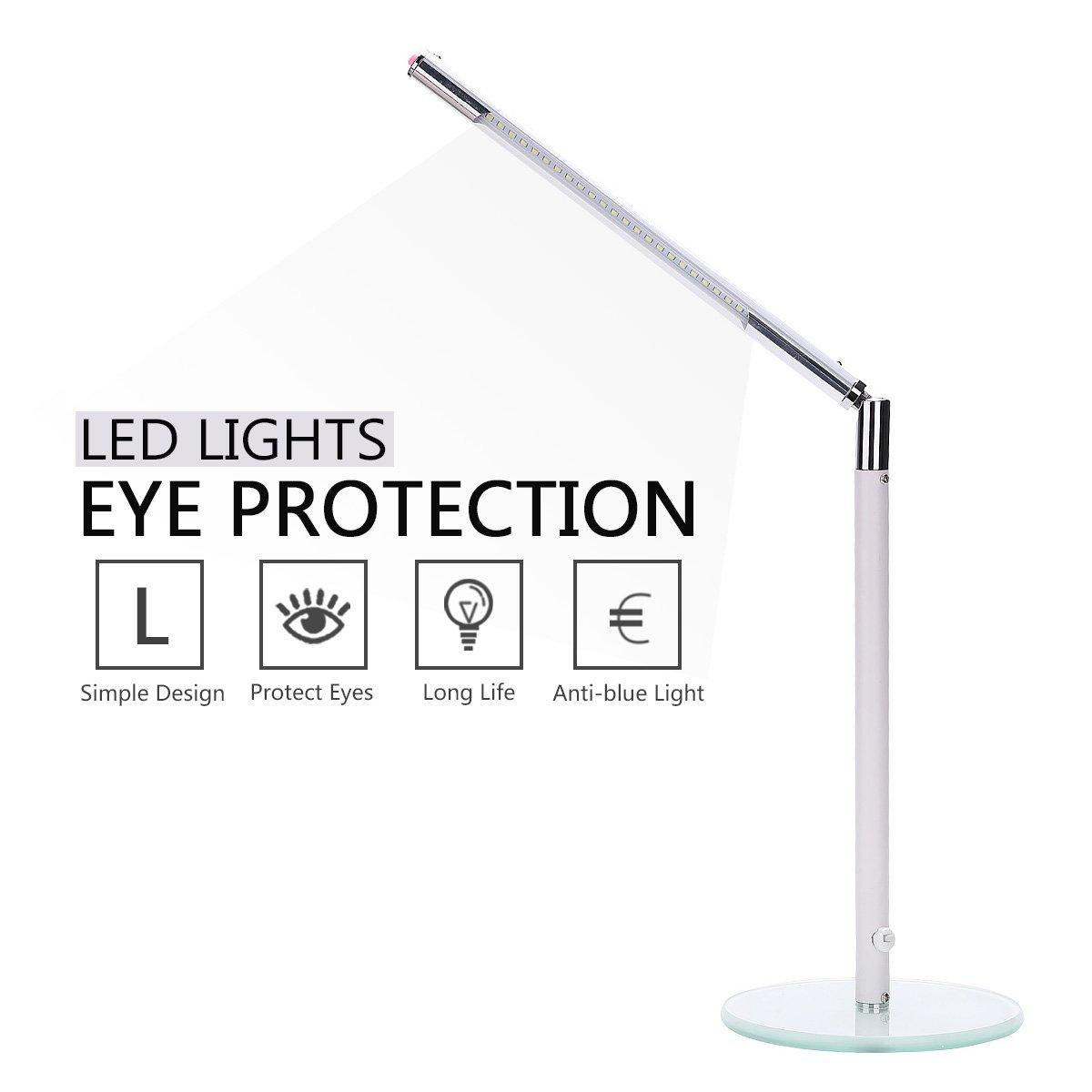 Hogoo 3-Level Eye Protection LED Desk Lamp,90° Adjustable,5V,3Watt,24 Lamp Beads,White