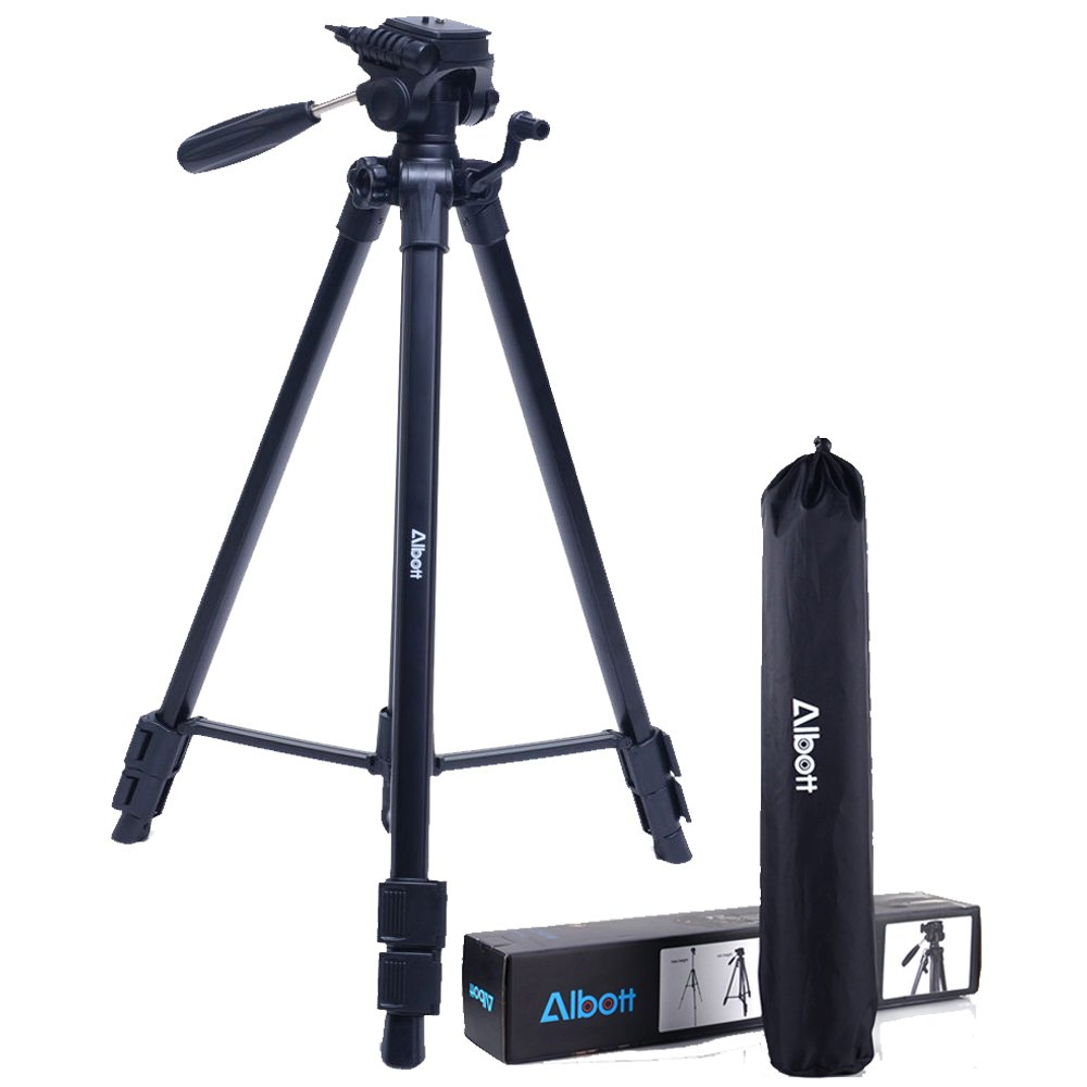 Albott 64 Inch Travel Tripod Portable Aluminium Lightweight with Carrying Bag for Cameras Video by Albott