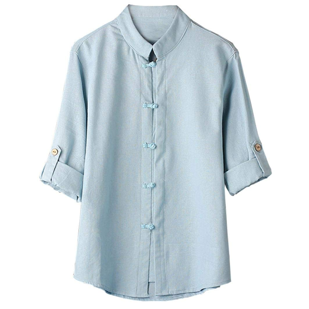 Chemises Rétro, YUYOUG Hommes Classique Rétro Style Kung Fu Chemises Tops Tang Costume 3/4 Manches Blouse