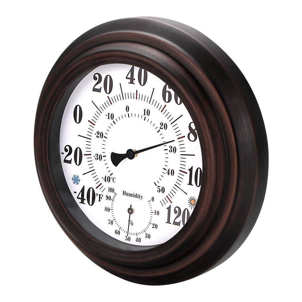OurLeeme Thermometer-Hygrometer-Wandhalterung Retro Art-Metallhauptdekoratives h/ängendes Hygrometer 20CM f/ür Innenau/ßen