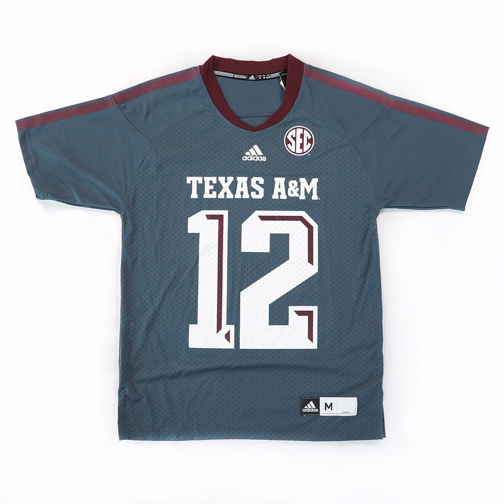 f938aafc5 Amazon.com : Texas A&M Aggies NCAA Adidas Men's Grey Official Football #12  Jersey : Sports & Outdoors