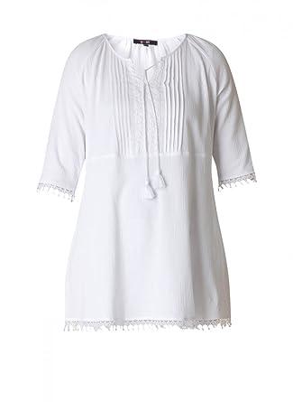 de7c11cd6ca1c8 Tunika Damen große Größen A-Linie in Weiß aus Baumwolle von Yesta Shirt  Oberteil elegant