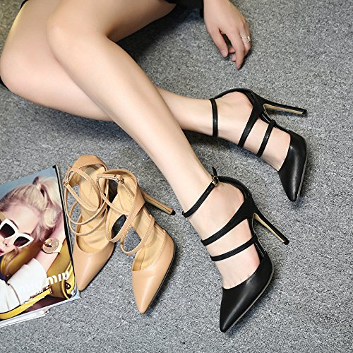 high Ladies high red belt sandals Wine suede buckle heeled UE shoes heels women's sandals RUGAI pointed vA5Ewqn