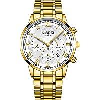 Relojes Pulsera Cronógrafo Calendario Números Romanos Analógico Relojes Hombre Acero Inoxidable Elegante