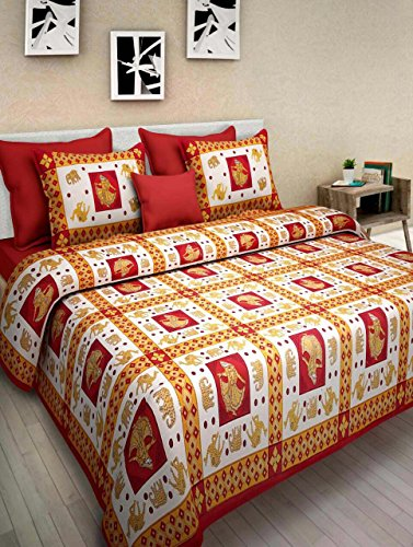1800 Costumes Uk (Pure Cotton Luxury King Size Mandala Bed Sheet Set with 2 Pillow Cases,Best Quality For Home, Hotel, Wrinkle, Fade, Stain Resistant, Hypoallergenic (Dancing Girl & Elephant White Red Color))