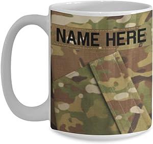 U.S. Army (USA) Sergeant Major (SGM) E9 Coffee Cup - Personalized –White 15oz – OCP Army Combat Uniform Pattern - Military Ceramic Mug - Customize with Name