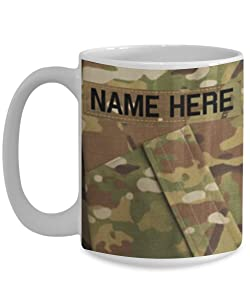 U.S. Army (USA) Corporal (CPL) E4 Coffee Cup - Personalized - White 15oz – OCP/Army Combat Uniform Pattern - Military Ceramic Mug - Customize with Name