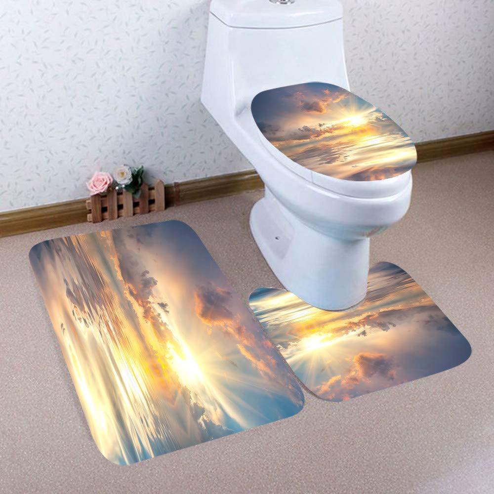 DIAGE 3PCS Christmas Bathroom Mats Non-Slip Pedestal Rug Lid Toilet Cover Bath Mat Set Print Beautiful Flowers E by DIAGE