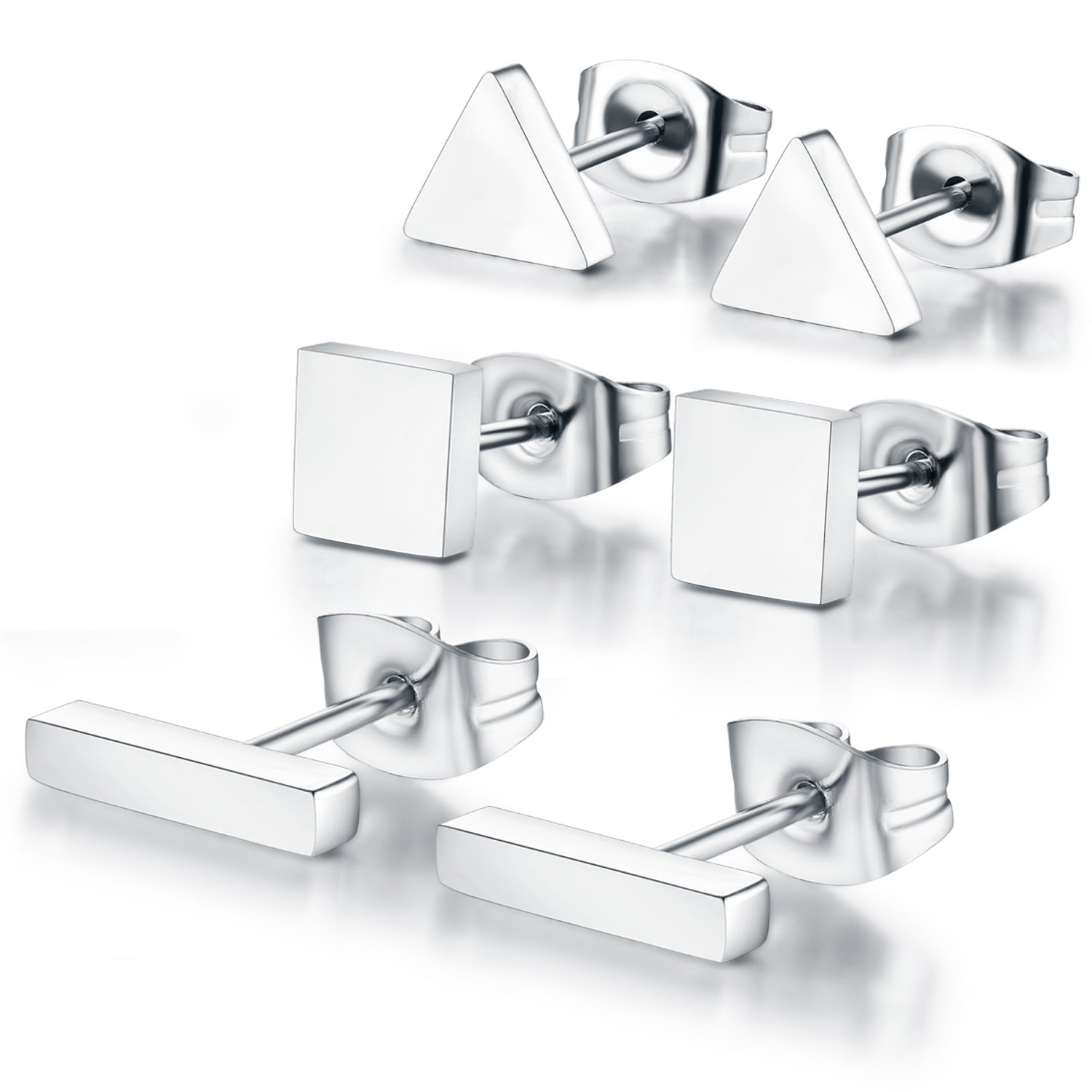 SPINEX 3 Pairs Silver Stud Earring Set Pierced (Rectangle, Square, Triangle) by SPINEX