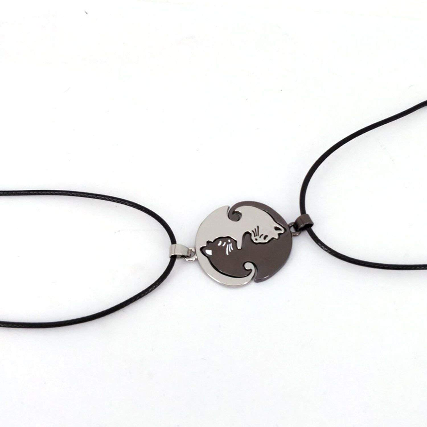 Dayday-Summer Couples Jewelry Animal Necklaces Black White Couple Cat Pendants Necklace