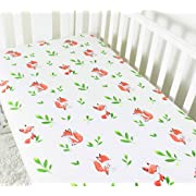 Crib Sheets - Fox Print  Fitted Crib Sheet Set - for Baby Girl or Boy as Toddler, Infant - Jersey Cotton Mattress Covers for Bed - - Nice Shower Gift (Fox)