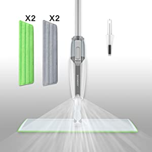 """BOOMJOY Spray Mop with 20"""" Aluminum Plate, 4 Microfiber Mop Pads, 1 scraper, 300ml PP Bottle, 360 Degree Spin Hardwood Floor Cleaning Wet and Dry Dust Mop"""