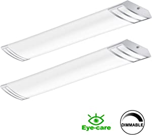 FaithSail 4FT LED Light Fixture 50W 5600lm Flush Mount Linear Lights, 4000K, 1-10V Dimmable, 4 Foot LED Kitchen Lighting Fixtures Ceiling for Craft Room, Laundry, Fluorescent Replacement, 2 Pack