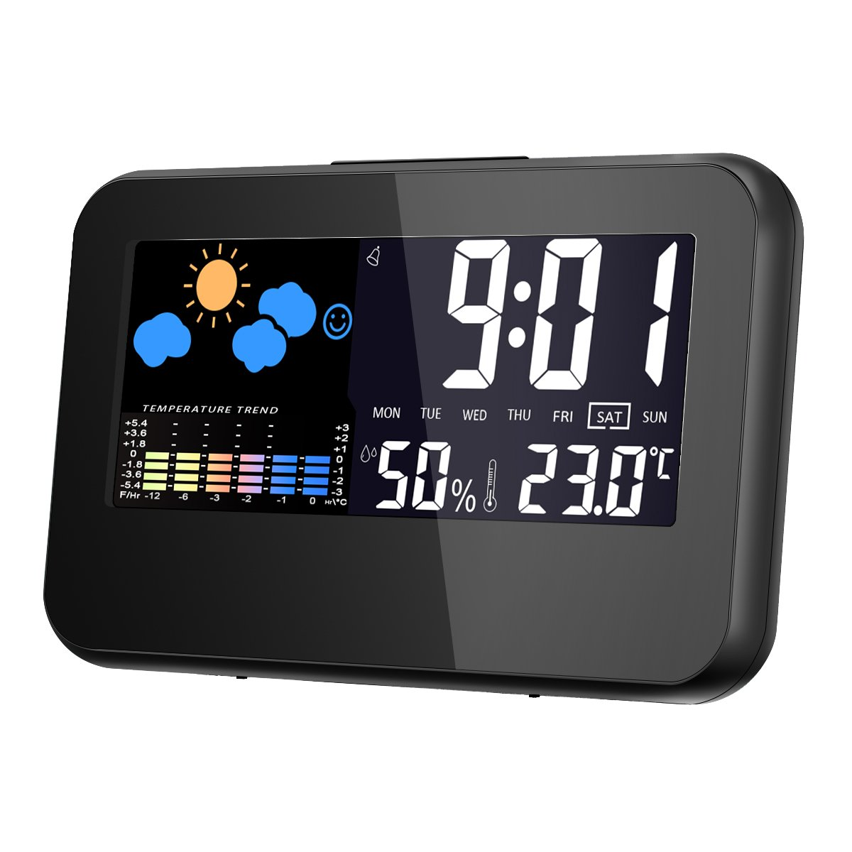 Temperature Monitor, GLISTENY Thermometer Hygrometer Gauge with Digital Clock and Alarm Clock, Calendar, Voice Control Backlight, LCD Screen Indoor Temperature and Humidity Monitor