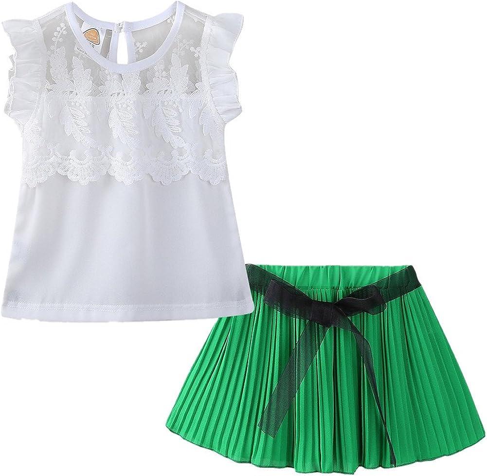 LittleSpring Little Girls Skirt Set Chiffon Sleeveless