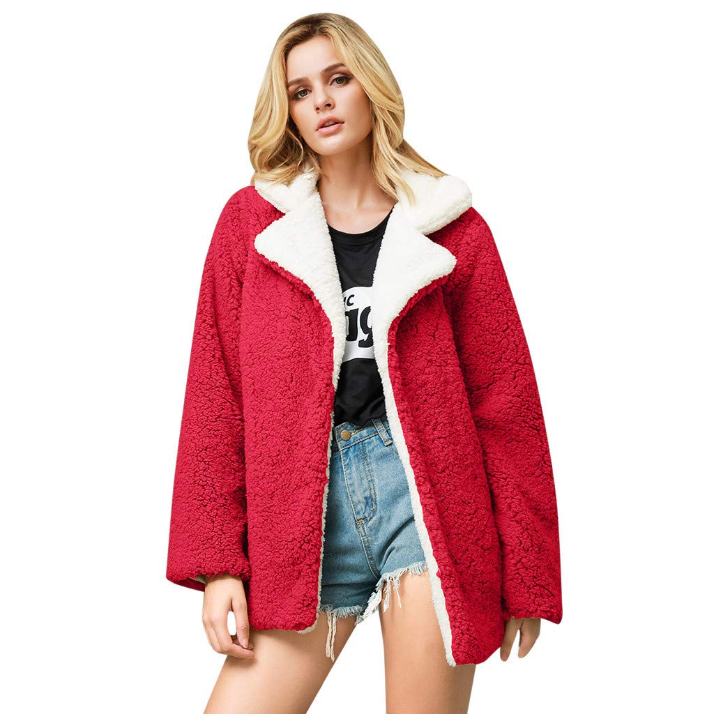 LBPSUUEW Women Coat Jacket Faux Fur Outwear Cardigan Winter Warm Parka Outwear Casual Outercoat (XL, Red) by LBPSUUEW YEVS
