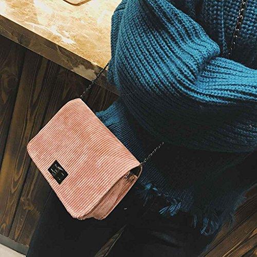 Solid Chilie Bags Corduroy Handbag shoulder Single Girl Pink Korean Color Crossbody Messenger Chain Strap Bags Women Style CrqOSgxwCn