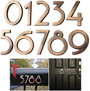 Diggoo 10 Pack Mailbox Numbers 0-9, 2.76 Inch High, Door Address Numbers Stickers for Apartment, House, Room, Office, Cars, Trucks, Bronze Plating Process Number Sign