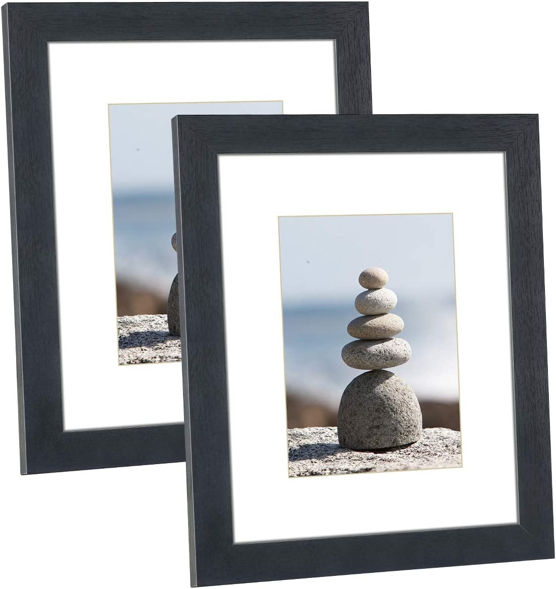 DBWIN 8x10 Picture Frame Black Wood Pattern Photo Frame Real Glass Front 2 Pack,Each Frame with Mat,Display 8x10 Pictures without mat or 5x7 Photos with Mat Wall Decor(LY01-8X10-BK)