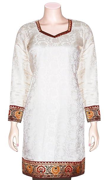 1c79f489bfc Jacquard Silk Women's Tunic/Top/Party-wear Kurti with Long Sleenes &  Bananasi