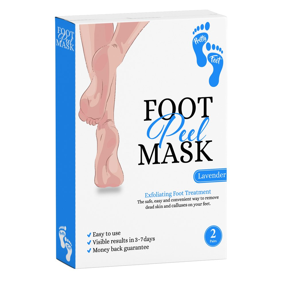 2 Pairs of Exfoliating Foot Peel Mask for Soft Feet in 3-7 Days, Exfoliating Socks for Peeling Off Calluses & Dead Skin, for Men & Women by Pretty Feet