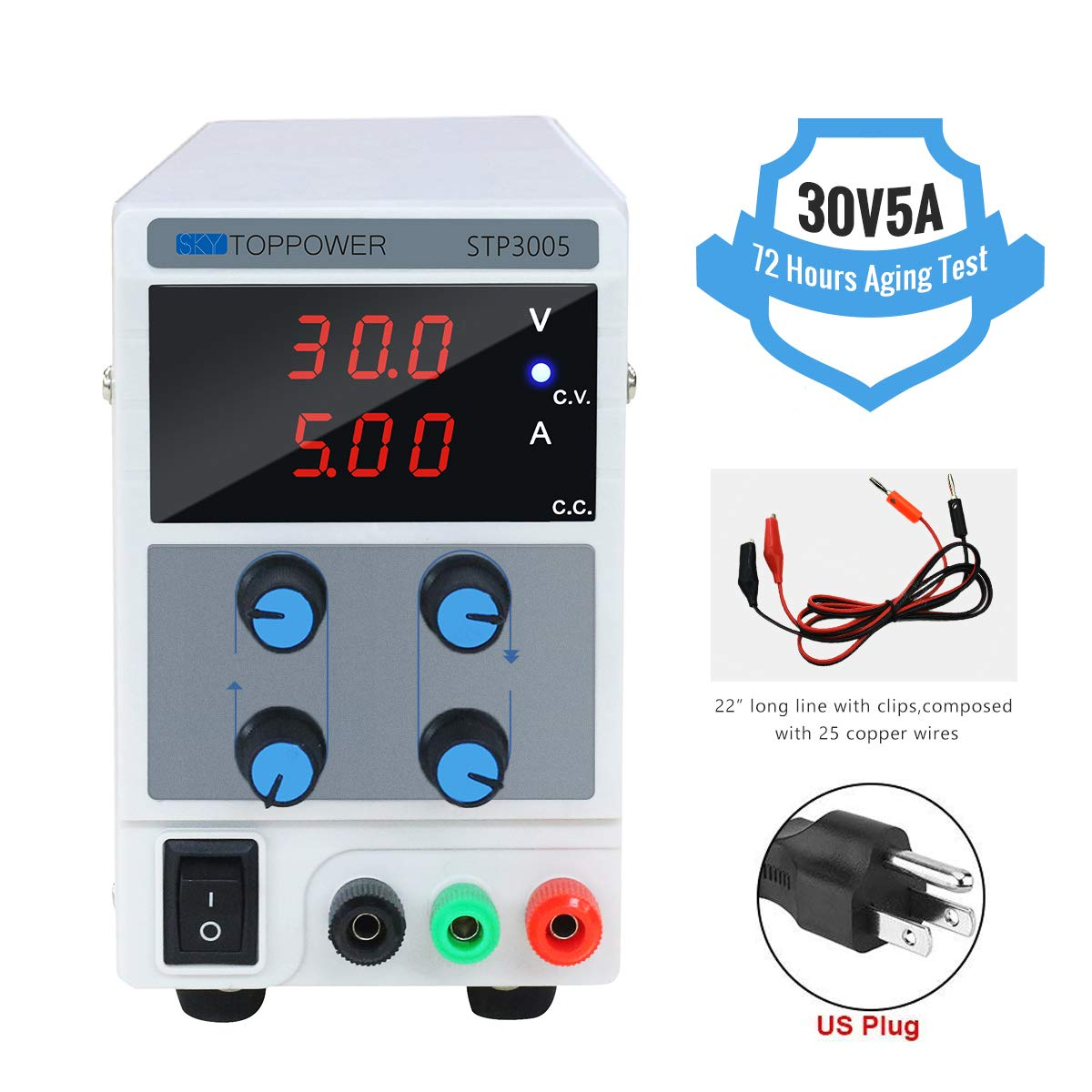 30V 5A DC Power Supply Variable Lab Test Power Supply 3 Digital