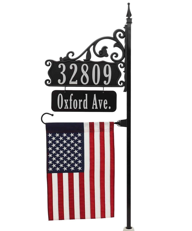 Super Reflective USA Handcrafted Boardwalk Address Sign - 58' Post, Name Rider, American Flag