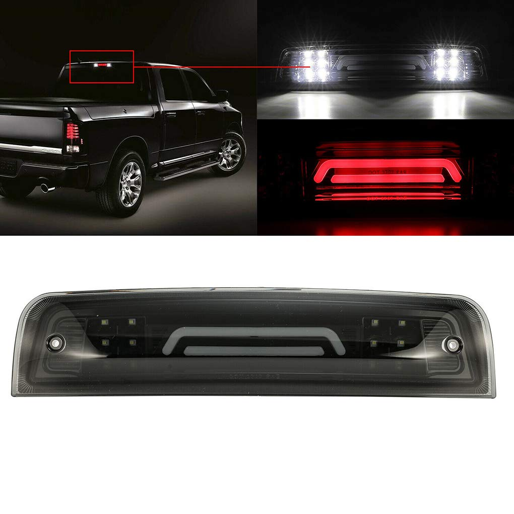OmkuwlQ Replacement for 2009-2017 Dodge Ram 1500 2500 3500 Rear 3rd Tail Brake LED Light Cargo Lamp 55372082AE 55372082AF
