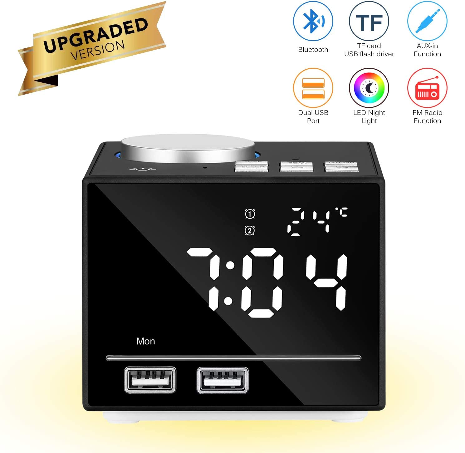 Reloj despertador inteligente multifuncional Reloj digital inteligente Altavoz Bluetooth Radio FM Snooze Función AUX-IN con luz de noche LED Puertos USB dobles