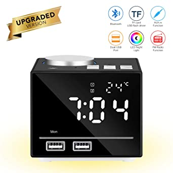 Reloj despertador inteligente multifuncional Reloj digital inteligente Altavoz Bluetooth Radio FM Snooze Función AUX-IN