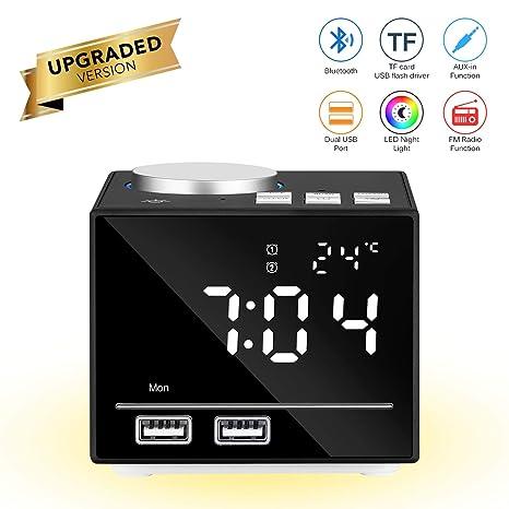 Reloj despertador inteligente multifuncional Reloj digital inteligente Altavoz Bluetooth Radio FM Snooze Función AUX-IN con luz de noche LED Puertos ...
