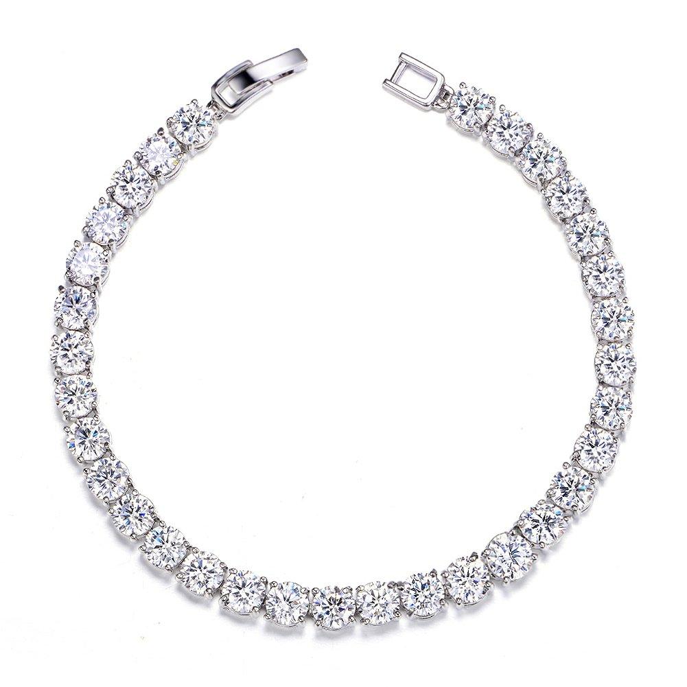 UMODE Jewelry 0.5 Carat Round Cut Clear Cubic Zirconia CZ Tennis Bracelet For Woman (6.5 inch)