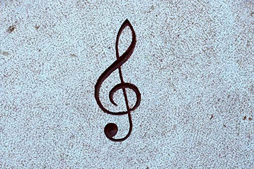 Home Comforts Peel-n-Stick Poster of Note Treble Clef Relief Stone Music Clef Vivid Imagery Poster 24 x 16 Adhesive Sticker Poster Print