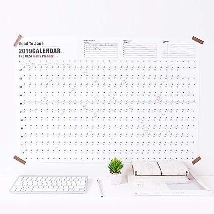 Yongan Calendario 2019 Póster Hogar Escuela Anual Diario ...