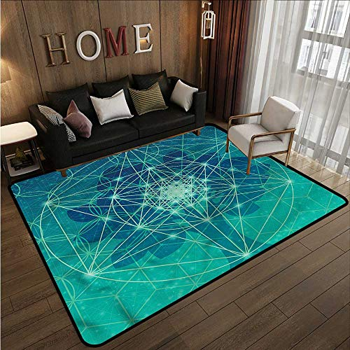 Kids Rug Sacred Geometry Tree with Shapes Ideal Gift for Children 4