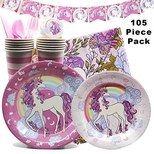 NEW Unicorn Birthday Party Supplies and Decorations -105 Piece Pack Girls Party Supply Set with Plates, Napkins, Cups, Cutlery and Decorations/Serves 12 by Coco & Ella