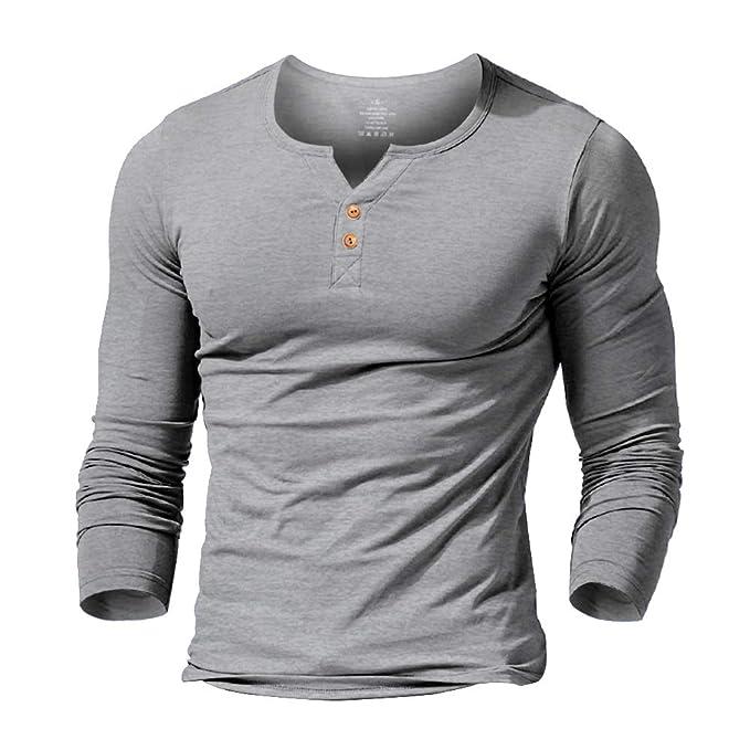 734d63d4 Amazon.com: Slimbt Mens Long Sleeve Muscle Slim Fitted Cotton Henley ...