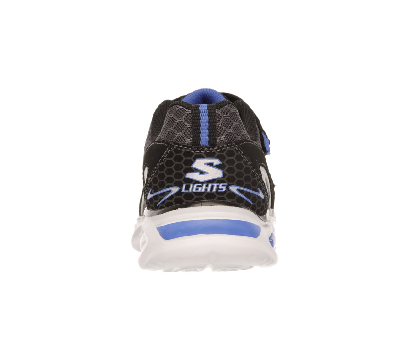 Skechers Boys' S Lights Ipox Rayz,Black/Royal,US 1.5 M