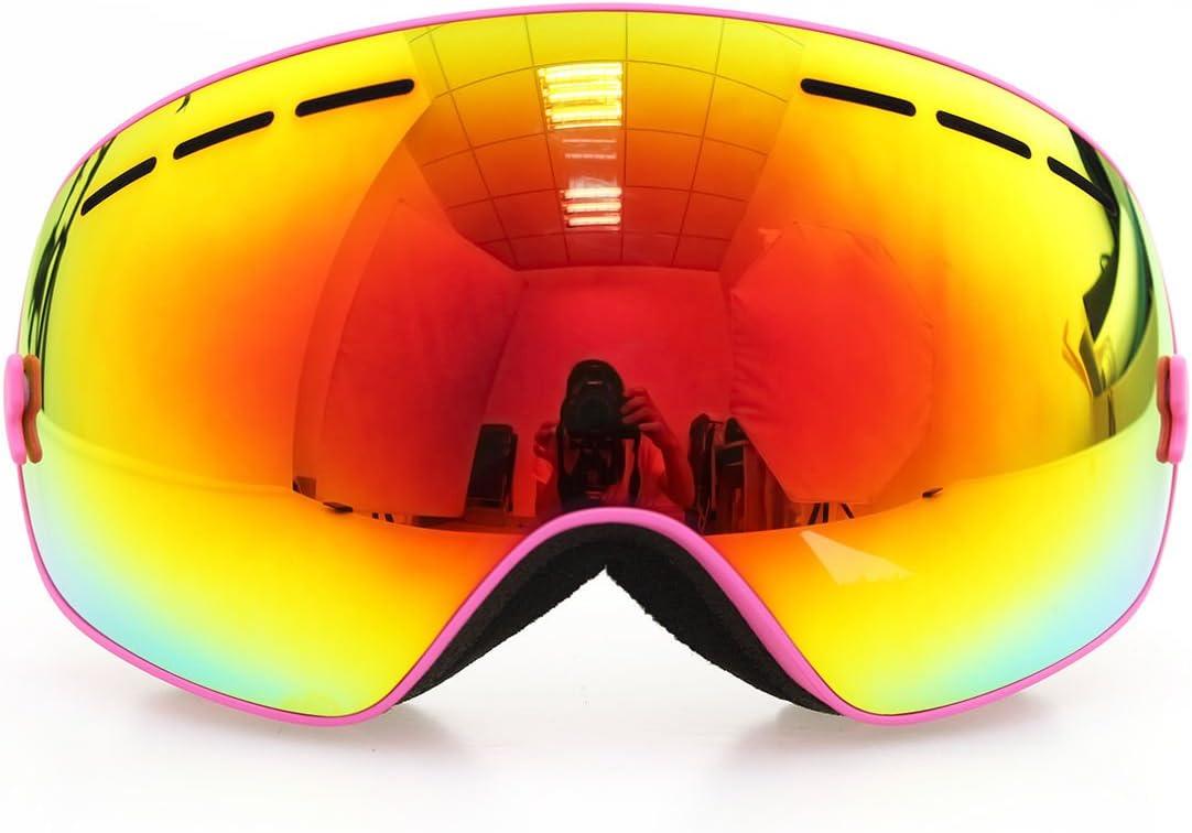 フレームピンクゴーグルスキースノーボードゴーグル曇り止めuv400冬スポーツスキーゴーグルセット