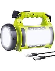 Novostella Lampe Torche LED Rechargeable Etanche, CREE LED 3 en 1 Puissante, Lampe Camping Projecteur Portable, Lanterne Torche Câble USB Inclus pour Randonnée Ustellar