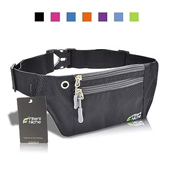 8aedfcc463cf Running Fanny Pack, 3 Pocket Travel Money Waist Bag, Water Resistant  Elastic Adjustable Belt for Men Women, Fits iPhone X 8 Plus, Samsung, Ideal  for ...