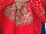 """NovaHaat Luxurious Scarlet Red Zari Shawl - Wool Embroidered Beaded Stole 78"""""""