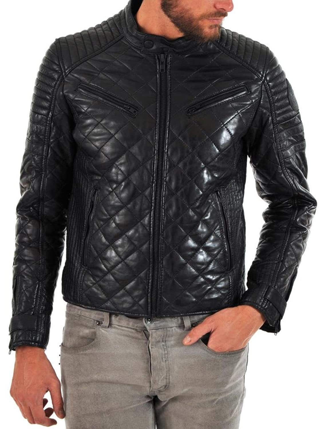 Men Leather Jacket Biker Motorcycle Coat Slim Fit Outwear Jackets AUK068