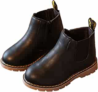 Toddler Girls Chelsea Boots Side Zip Flat Ankle Boots with Elastic Side Tabs